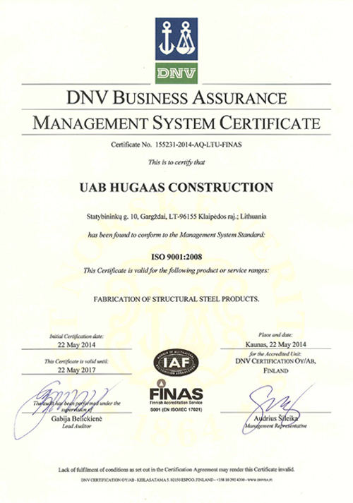 DNV ISO 9001-2008 certificate